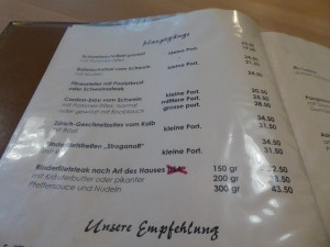 Speisekarte Restaurant Löwen Dulliken