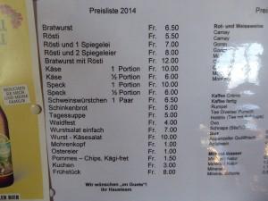 Speisekarte Rumpelweide