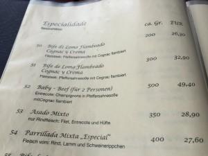 El Gaucho Speisekarte Spezialitäten