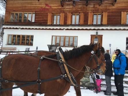 Kutsche vor Gasthaus Spinas Val Bever